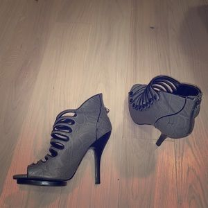 Style grey multi-strapped ankle high heel Bakers